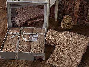 Комплект полотенец Karna Elinda, кофейный