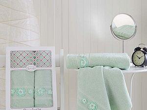 Комплект полотенец Karna Elegance, зеленый