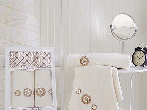 Комплект полотенец Karna Elegance, кремовый