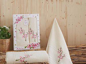 Комплект полотенец Karna Sakura, кремовый