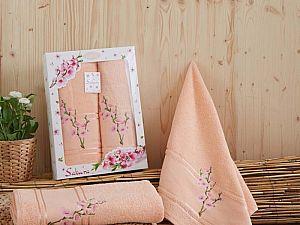 Комплект полотенец Karna Sakura, абрикосовый