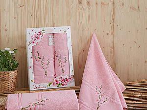 Комплект полотенец Karna Sakura, розовый