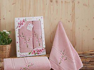 Комплект полотенец Karna Sakura, грязно-розовый