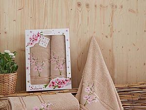Комплект полотенец Karna Sakura, кофейный
