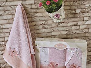 Комплект полотенец Karna Spray, светло-розовый