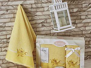 Комплект полотенец Karna Spray, светло-желтый