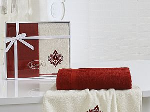 Комплект полотенец Karna Darmoni, бордовый