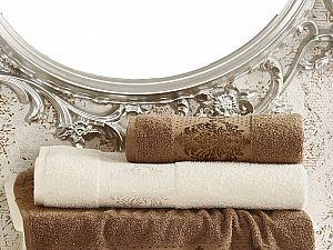 Комплект полотенец Karna Dora, кремовый и коричневый арт. 2152/char004