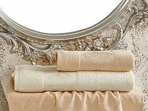 Комплект полотенец Karna Dora, кремовый и абрикосовый арт. 2152/char002