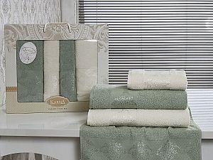 Комплект полотенец Karna Dora, кремовый и зеленый арт. 2153/char003