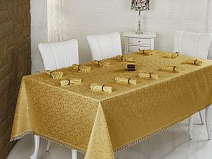 Скатерть Evdy Kdk с салфетками 160х300 см, золотистая