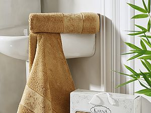 Комплект полотенец Karna Pandora, горчичный
