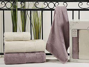 Комплект полотенец Karna Pandora, светло-лаванда и кремовый