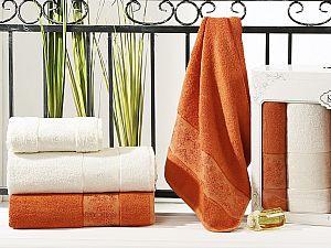Комплект полотенец Karna Pandora, кремовый и кирпичный