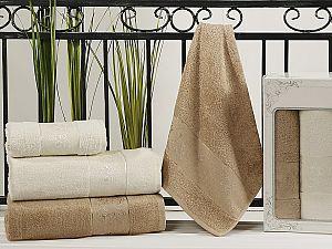Комплект полотенец Karna Pandora, кремовый и кофейный