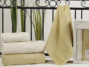Комплект полотенец Karna Pandora, кремовый и золотистый
