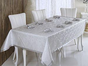Скатерть Verolli Kurdeleli 160х600 см, с салфетками, серебряная