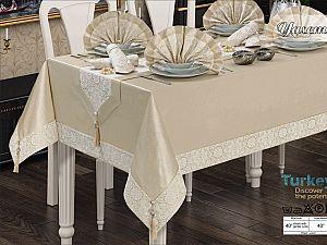 Скатерть Verolli Yasemin Set 160х220 см, с салфетками, коричневая