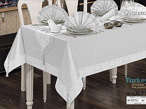 Скатерть Verolli Yasemin Set 160х220 см, с салфетками, белая