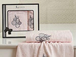 Комплект полотенец Lucente Lancetta, розовый