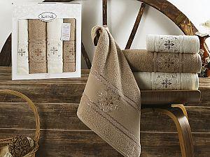 Комплект полотенец Karna Seher, кофейный арт. 2352/char003