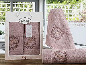 Комплект полотенец Karna Claris, грязно-розовый
