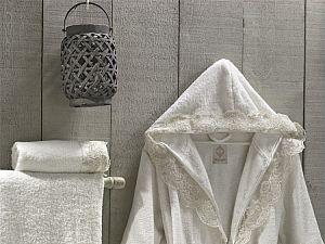 Халат Altinbasak Margarete кремовый с полотенцами, L