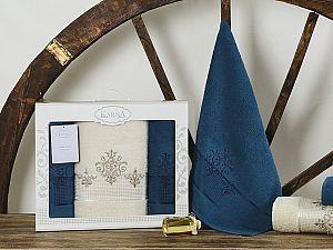 Комплект полотенец Karna Victory, синий-саксен арт. 2385/char006