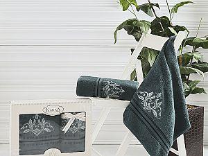 Комплект полотенец Karna Agra, темно-зеленый