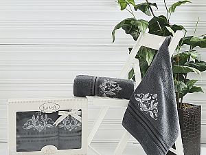 Комплект полотенец Karna Agra, темно-серый