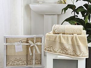 Комплект полотенец Karna Beyza, бежевый