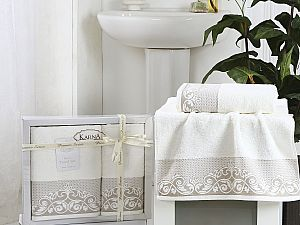 Комплект полотенец Karna Beyza, кремовый