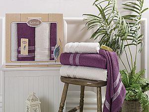 Комплект полотенец Karna Petek, кремовый и светло-лаванда