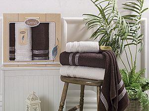Комплект полотенец Karna Petek, кремовый и коричневый