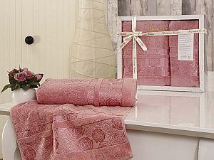 Комплект полотенец Karna Rose Garden, грязно-розовый