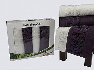 Комплект полотенец Gonca Lara, кремовый и фиолетовый