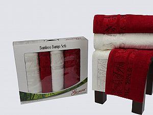 Комплект полотенец Gonca Lara, кремовый и бордовый