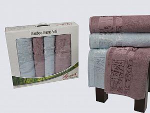 Комплект полотенец Gonca Lara, голубой и грязно-розовый