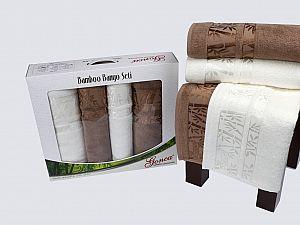 Комплект полотенец Gonca Lara, кремовый и коричневый