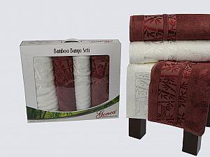 Комплект полотенец Gonca Lara, кремовый и кирпичный