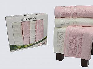 Комплект полотенец Gonca Lara, кремовый и светло-розовый