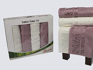 Комплект полотенец Gonca Lara, кремовый и светло-сиреневый