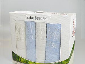Комплект полотенец Gonca Lara, кремовый-голубой