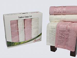 Комплект полотенец Gonca Lara, кремовый-розовый