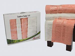 Комплект полотенец Gonca Lara, кремовый-абрикосовый