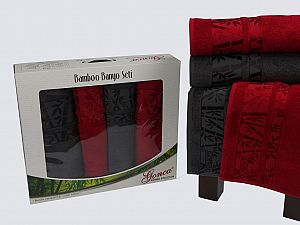 Комплект полотенец Gonca Lara, бордовый-серый