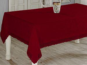 Скатерть Evdy Kdk с гипюром 140х180 см, бордовая