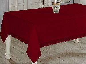 Скатерть Evdy Kdk с гипюром 160х220 см, бордовая