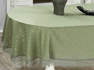 Овальная скатерть Evdy Kdk с гипюром 160х220 см, зеленая