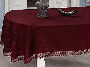 Овальная скатерть Evdy Kdk с гипюром 160х220 см, бордовая